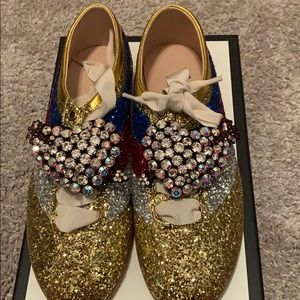 Gucci Glitter Falacer Crystal Heart Shoes